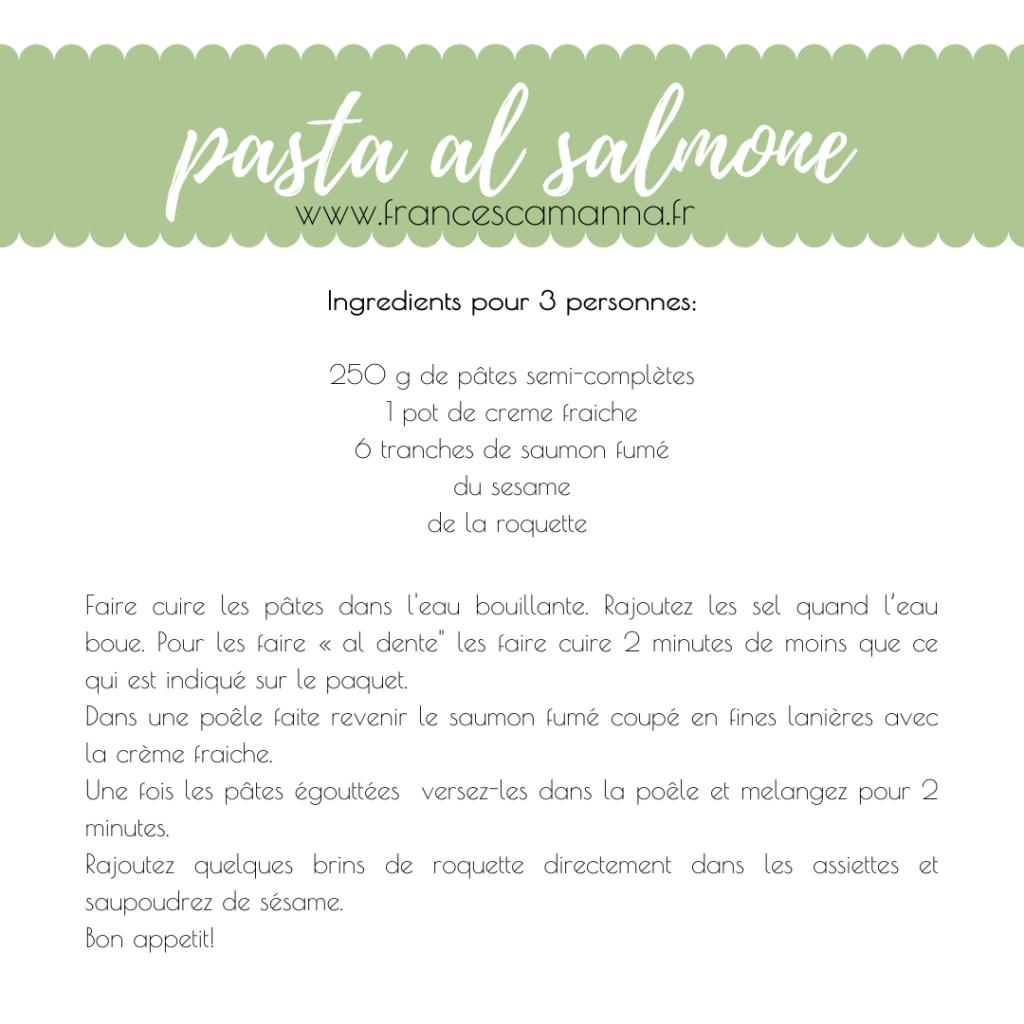 recette des pâtes au saumon par Francesca Manna Naturopathe
